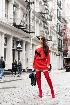 Spring Refresh :: Sweater dresses & Red boots :: Outfit :: S W E A T E R ::  Rag & Bone  B O O T S ::  Steve Madden suede boots B A G ::  Fendi A C C E S S O R I E S ::  Dior sunglasses | Sarah & Sebastian face earring | Catbird choker | Kate Spade belt PUBLISHED: March 2, 2018