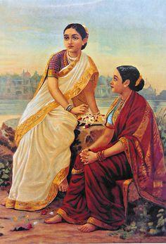 Radha and Her Sakhi Waiting for Krishna (Reprint on Paper - Unframed)