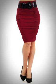 "Broad Minded ""Locked & Loaded III"" High Waisted Pin Up Girl Pencil Skirt with Shirred Side Panels in Burgundy with Wide Black Belt Included"