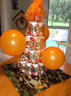 Beer cake, 21st birthday, camo, orange, Budweiser, beer, cake, birthday