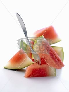 Watermelon in pieces with fork