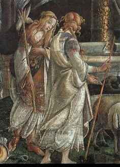 Sandro Botticelli - The Trials of Moses Fresco x 558 cm Sistine Chapel, Vatican Italian Renaissance Art, Renaissance Artists, Renaissance Paintings, Giorgio Vasari, Italian Painters, Italian Artist, Sandro, Caravaggio, Classical Art