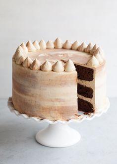 Chocolate Bourbon Marble Cake with pecan crunch. Bourbon Cake, Chocolate Bourbon, Decadent Chocolate Cake, Beautiful Chocolate Cake, Hazelnut Cake, Pecan Cake, Cupcakes, Cupcake Cakes, Recipes
