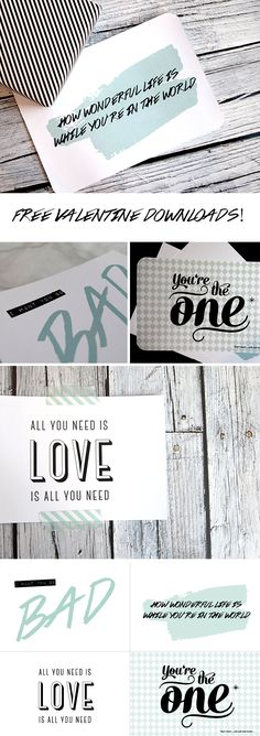 free printable | blue and black valentine cards