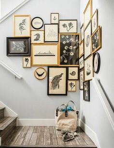 Picture frame hallway wall decorating staircase More