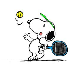 Snoopy on the Tennis Court Practicing his Infamous Lefty Serve