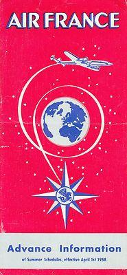 AIR FRANCE - 1958 TIMETABLE