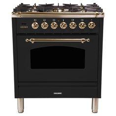 Hallman 30 in. Single Oven Dual Fuel Italian Range with True Convection, 5 Burners, Bronze Trim in Matte Graphite, Grey