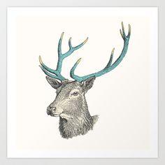 Party Animal - Deer Art Print by Zeke Tucker - $17.68