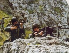 Podhale Riflemen of the Polish People's Army in alpine combat training.