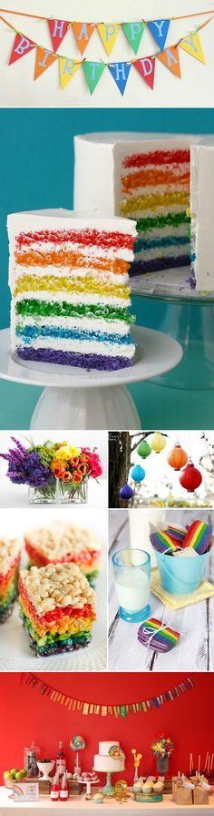 Ive already done a rainbow birthday party, but here are more ideas in case I do another. Any of my friends want to have a coming out party? Rainbow Parties, Rainbow Birthday Party, First Birthday Parties, Birthday Party Themes, First Birthdays, Birthday Cake, Colorful Birthday, Birthday Ideas, Birthday Stuff