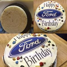 So I made this cake for a friend of mine so she could surprise her boyfriend for his birthday, and she said he loves cars and his car is a Ford Fusion so I went with this Ford themed cake. The flavor of the cake was a simple milk chocolate cake with vanilla frosting, choco rocs and an edible image of the logo and a simple happy birthday message! Also the Oreo's are suppose to be wheels, but you gotta look closely lol