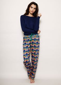 2d3f1bd694 ALAS Navy Long Sleeve T-shirt and Magic Cloud Pyjama Pants - organic cotton.  Magic Clouds print by Chrissie Abbott
