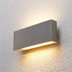 Steel outdoor wall light Safira with LED Led Outdoor Wall Lights, Outdoor Walls, Outdoor Lighting, Stair Lighting, Modern Lighting, Lighting Design, Concrete Stairs, Concrete Lamp, Exterior Wall Light