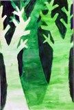 Artsonia Art Exhibit :: Monochromatic Trees in watercolor