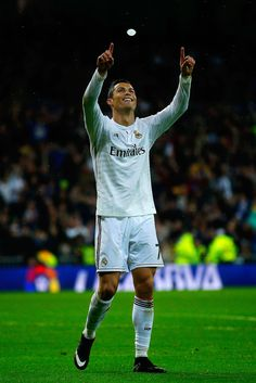 Cristiano Ronaldo of Real Madrid CF celebrates scoring their fifth goal during the La Liga match between Real Madrid CF and Rayo Vallecano de Madrid at Estadio Santiago Bernabeu on November 8, 2014 in Madrid, Spain.