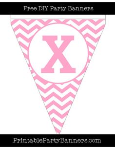 Carnation Pink and White Pennant Chevron Capital Letter X