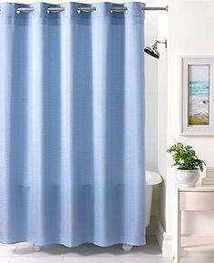 Blue shower curtains with extra long shower curtain liner and rain shower. Extra Long Shower Curtain, Long Shower Curtains, Striped Shower Curtains, Small Bathroom Ideas On A Budget, Hookless Shower Curtain, Bathroom Essentials, Rain Shower, Bath Remodel, Colorful Decor