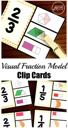 These free visual fraction model clip cards are a great way to assess children's knowledge of fractions, numerators, denominators, and their fraction sense. Fraction Games, Fraction Activities, Math Games, Math Activities, Teaching Fractions, Math Fractions, Teaching Math, Adding And Subtracting, Math Notebooks