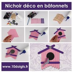 Birdhouse decoration with wooden rods - Activities for children Popsicle Stick Crafts House, Popsicle Sticks, Craft Stick Crafts, Classroom Art Projects, Craft Projects, Foam Crafts, Diy Crafts For Kids, Craft Fairs, Preschool Activities