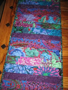 Quilted Table Runner , Kaffe Fassett Bright Green Blue Red Purple Handmade by TahoeQuilts on Etsy