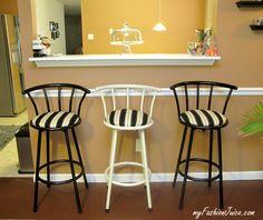 {Home Improvement} DIY Reupholstered Bar Stools