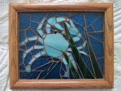 Iridescent  blue stained glass crab mosaic on Etsy, $45.00