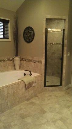(tile pattern)Modern with shower & bathtub. Modern Bathtub, Modern Bathroom, Small Bathroom, Master Bathroom, Bathroom Renos, Bathroom Renovations, Home Remodeling, Tile Around Bathtub, Tub Tile
