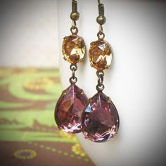 Lavender & Champagne Rhinestone Earrings by RewElliott