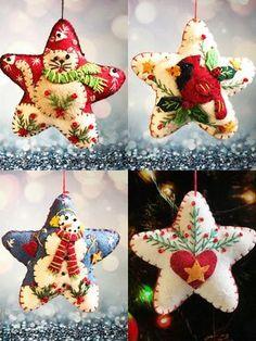 Christmas cat/bird/snowman/heart star Handcrafted felt