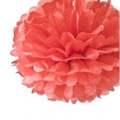 Pompon en papier corail - MARIAGE ORIGINAL
