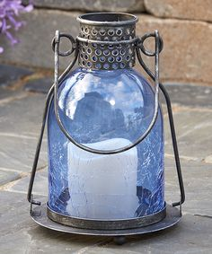 This Blue Monaco Glass LED Candle Lantern by Smart Living is perfect! Outdoor Candles, Led Candles, Candle Lanterns, Outdoor Lantern, Outdoor Decor, Porch Beams, Three Way Switch, Blue Lantern, Garden Lanterns