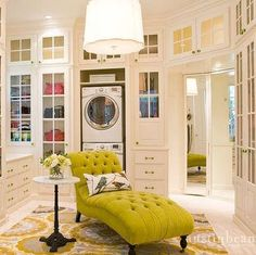 Massive closet with chartreuse chaise, glass-front cabinets, and washer/dryer! Also note the department store style mirror in the corner. - washing machine IN the dressing room? Design Studio, House Design, Dressing Room Closet, Dressing Rooms, Beautiful Closets, Glass Front Cabinets, Luxury Closet, Dream Closets, Classy Closets