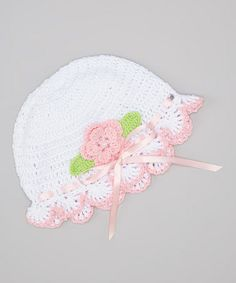 Another great find on #zulily! White & Pink Flower Crocheted Beanie by Pink and Blue Knitwear #zulilyfinds