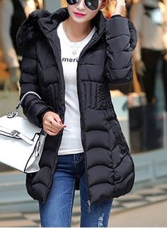 c4f538c3aab4 Chic Women s Parka Outwear Down Coat Hooded Fur Collar Padded Jacket  Overcoat