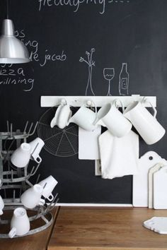 coffee, white dishes, chalkboard, aluminum light fixture... i'll be right over