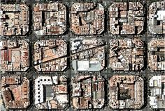 """city blocks in the Eixample section of Barcelona, a vast nineteenth century urban planning scheme that set up a series of square city blocks with wide streets and avenues; note that the buildings at the roadway intersections are cut at 45 degree angles in order to create a sense of space at those intersections; also interesting are the diagonal """"alleys"""" that cut through the grid of square blocks to form interior passageways"""