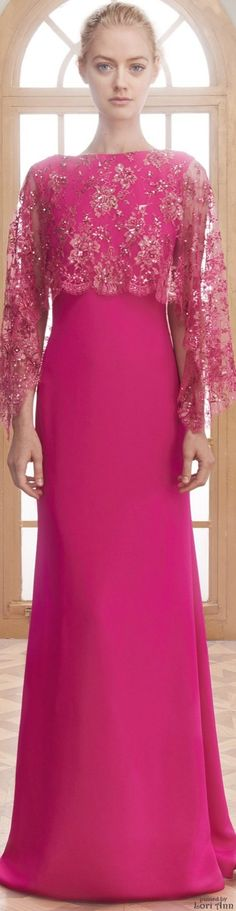 Reem Acra Resort 2016  -- A classic style gown. Love the overlay fabric--wonder if it is hand embroidered and beaded?