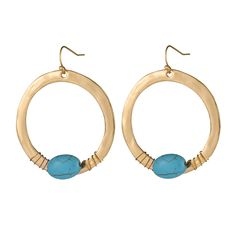 f185dda60 Simple Design 18K Gold Silver Plated Big Circle Earring Oval Turquoise  Stone Pendant Earrings For Women