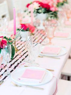 Pink and black color palette | Wedding reception table design