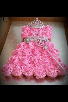 Princess dress cupcake cake with tiara, necklace & wand