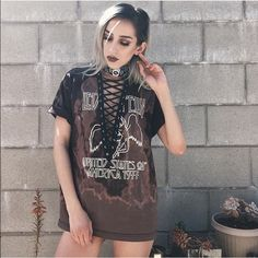 Vintage Tops - Bleached led Zeppelin tee lace up