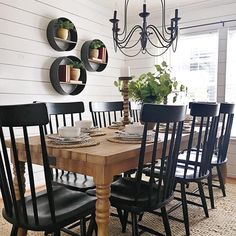 modern farmhouse dining room design, neutral dining room decor, fixer upper dining room ideas, with farmhouse table and chandelier with jute rug and black windsor dining room chairs and shiplap Dining Room Wall Decor, Dining Room Design, Curtains For Dining Room, Dining Room Shelves, Kitchen Dining, Kitchen Decor, Black Kitchen Tables, Kitchen Cabinets, Bathroom Cabinets