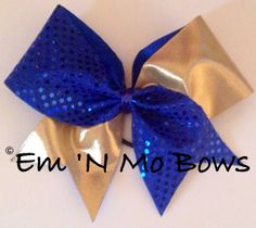 """Blue and Gold 3"""" Tick Tock Cheer Bow"""