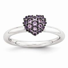 Sterling Silver Amethyst Stackable Expressions Heart Ring QSK1825