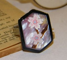 Floral Pink Artwork Ring with a Flower Popup by ArtLery on Etsy, $13.00