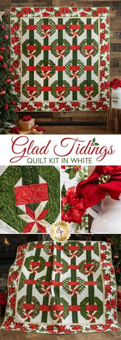 This 3-dimensional illusion of festive wreaths, ribbons and bows on white is brought to life with the timeless fabrics from the Glad Tidings collection by Maywood Studio. The fabrics in these stunning quilts feature beautifully illustrated Poinsettia, Pine boughs, Holly and more with tasteful metallic accents throughout!  Also available in Black. Can't choose which one you love most? Make them both for an amazing Christmas presentation in your own home, or make one for someone very special!