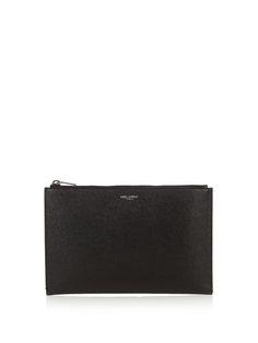 SAINT LAURENT Grained-leather pouch. #saintlaurent #bags #leather #lining #pouch #accessories #