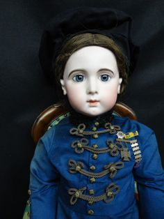 """36""""EXTRAORDINARY FRENCH BISQUE JUMEAU TRISTE SIZE 16,BLUE-EYED A/O ANTIQUE DOLL"""