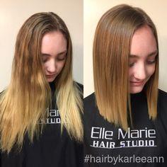 A nice haircut to trim the dead hair and some purple shampoo to cool the yellow #hairbykarleeann #ellemariekarlee #ellemarielakestevens